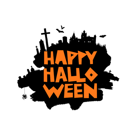 Happy Halloween. Vector illustration on a white background with a smear of black ink, castle, bats, spider, and cemetery. Lettering. A great holiday gift card. Illustration