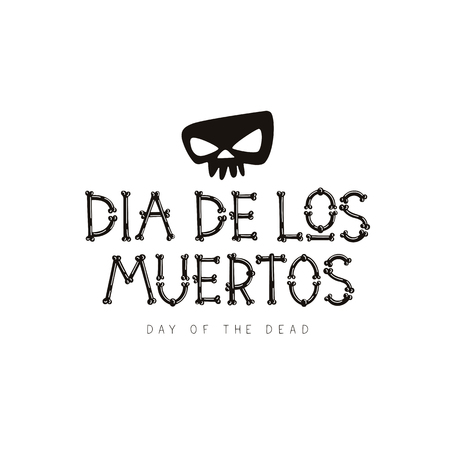Dia de los Muertos. Mexican day of death. Vector font from bones. The concept of pirated letters. Great holiday gift card. Illustration