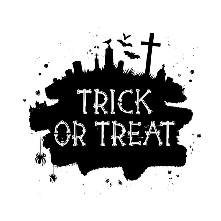 muck: Trick or treat. Happy Halloween. Vector font from bones. The concept of pirated letters. Holiday gift card.