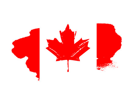 Canada Day. Red flag with maple leaf. Vector illustration on white background. Great holiday gift card. Ilustrace