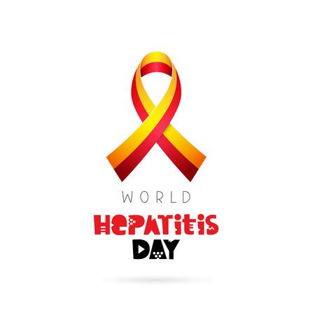 World Hepatitis Day. July 28. Yellow-red ribbon. Vector illustration on white background. Lettering. Illustration