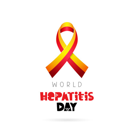 hepatitis vaccine: World Hepatitis Day. July 28. Yellow-red ribbon. Vector illustration on white background. Lettering. Illustration