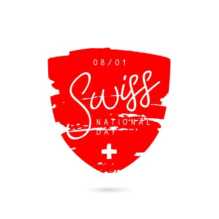 white coat: National Day of Swiss, August 1. Red coat of arms with a white cross. Vector illustration. Lettering and calligraphy. Illustration