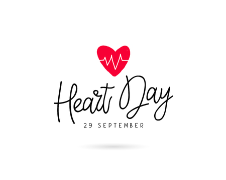 earth day: World Heart Day. 29 September. Vector illustration on white background. Excellent holiday gift card. Lettering and calligraphy.