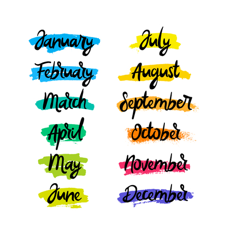 Months of the year. Calligraphy and lettering. Vector inscription on a white background with ink strokes of different colors. Elements for the design of calendars.
