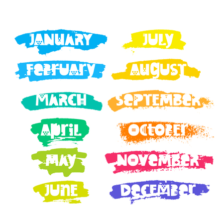Months of the year. Lettering. Vector inscription on a white background with ink strokes of different colors. Elements for the design of calendars. Illustration