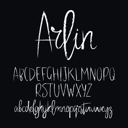 Modern vector font on black background. Uppercase and lowercase letters. Lettering, typography, calligraphy. English alphabet. Elements for design. Illustration