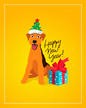 Happy New Year! Cheerful dog in a funny hat with a gift box with a bow. Calligraphy and lettering vector holiday card symbol of 2018.