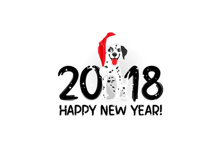 Happy New Year! Funny dog in a red hat. Lettering. Vector holiday card. Symbol of the  2018. Dalmatian