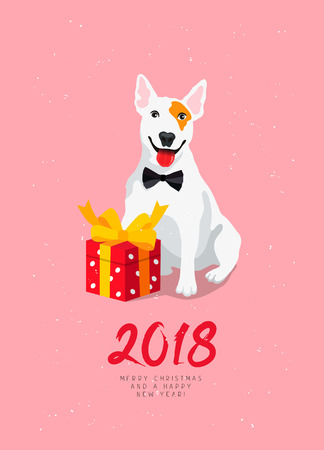 Happy New Year and Merry Christmas! Cheerful dog with a red gift box with a bow. Calligraphy and lettering. Vector holiday card. Symbol of the year 2018. White bull terrier. Illustration