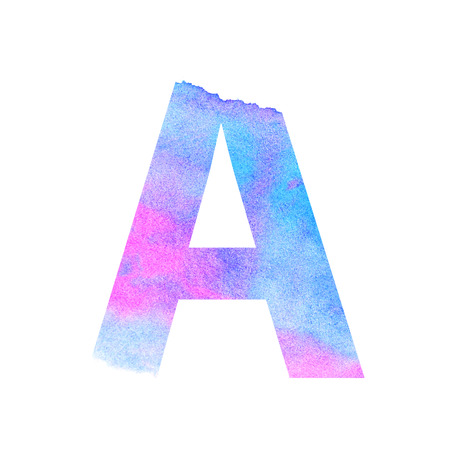 Watercolor blue-violet letter A. Raster illustration on a white background. Beautiful abstraction. Stock Photo