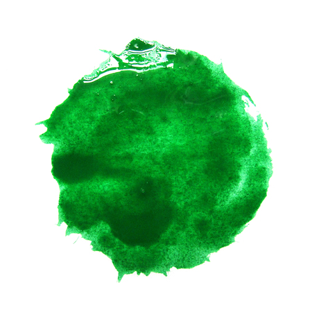 smudge: Watercolor green spot on a white background. Abstraction. Elements for design. A beautiful round print of the brush.
