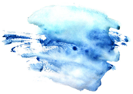 Watercolor blue spot on a white background. Abstract splash. Stock Photo