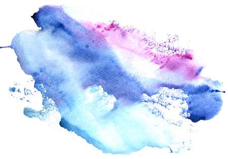 흰색 배경에 수채화 블루 바이올렛 얼룩. 추상 시작합니다.