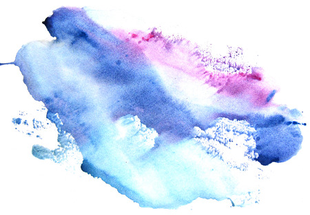 monotype: Watercolor blue-violet stain on a white background. Abstract splash.