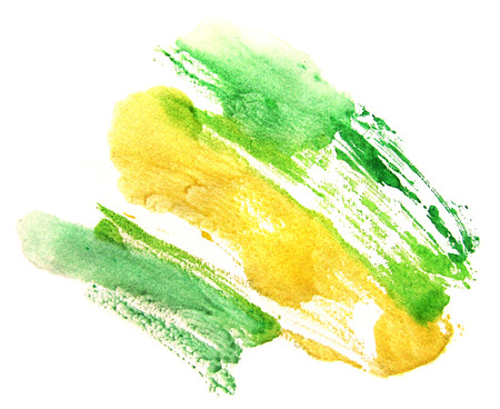 monotype: Watercolor yellow-green stain on a white background. Abstract splash.