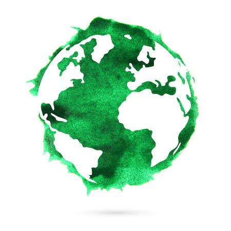 白い背景に水彩画の緑の惑星地球。美しい抽象的なスポット。