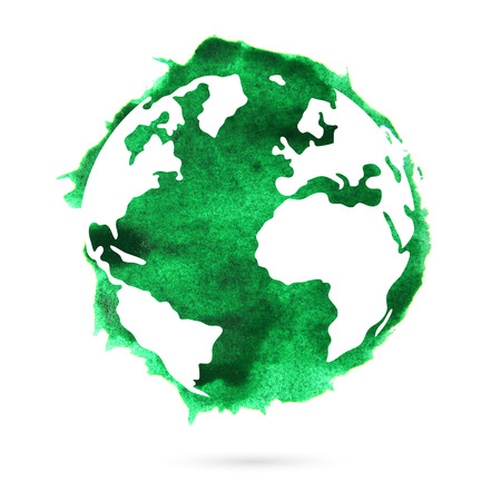 Watercolor green planet earth on a white background. A beautiful abstract spot. Standard-Bild