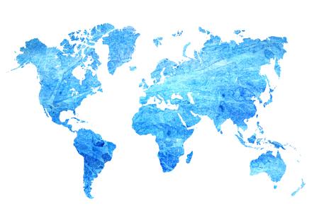 Acuarela mapa azul del mundo sobre un fondo blanco. Extracto hermoso. Foto de archivo - 84268384