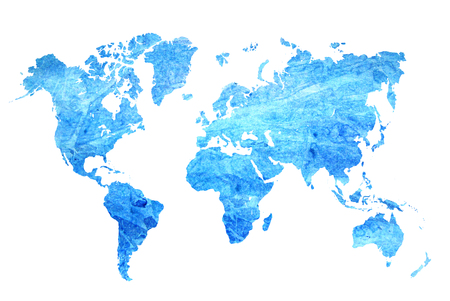 Watercolor blue map of the world on a white background. Beautiful abstract.