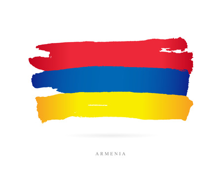 Flag of Armenia. Vector illustration on white background. Beautiful brush strokes. Abstract concept. Elements for design. Stock Vector - 86214771