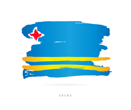 Flag of Aruba. Vector illustration on white background. Beautiful brush strokes. Abstract concept. Elements for design.