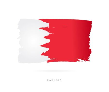 Flag of Bahrain. Vector illustration on white background. Beautiful brush strokes. Abstract concept. Elements for design. Illustration