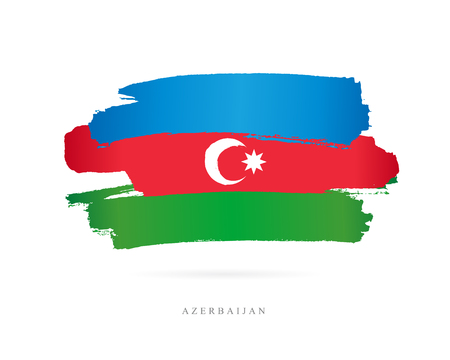 Flag of Azerbaijan. Vector illustration on white background. Beautiful brush strokes. Abstract concept. Elements for design.