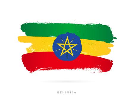 Vlag van Ethiopië. Vectorillustratie op witte achtergrond. Mooie penseelstreken. Abstract concept. Elementen voor ontwerp.