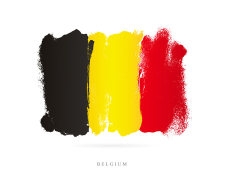 Flag of Belgium. Vector illustration on white background. Beautiful brush strokes. Abstract concept. Elements for design. Banco de Imagens - 86412010
