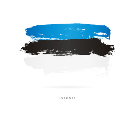 Flag of Estonia. Vector illustration on white background. Beautiful brush strokes. Abstract concept. Elements for design.