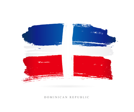 Flag of the Dominican Republic. Vector illustration on white background. Beautiful brush strokes. Abstract concept. Elements for design. Ilustração