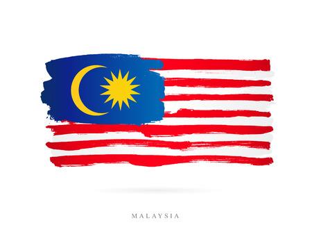 マレーシアの旗。白の背景にベクトル イラスト。美しいブラシ ストローク。抽象的な概念。デザインの要素。
