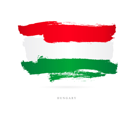 Flag of Hungary. Vector illustration on white background. Beautiful brush strokes. Abstract concept. Elements for design. Ilustrace