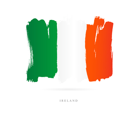 Flag of Ireland. Vector illustration on white background. Beautiful brush strokes. Abstract concept. Elements for design.  イラスト・ベクター素材