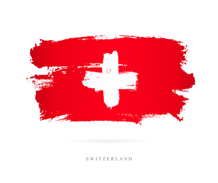 Beautiful brush strokes, Abstract concept of National Flag of Switzerland