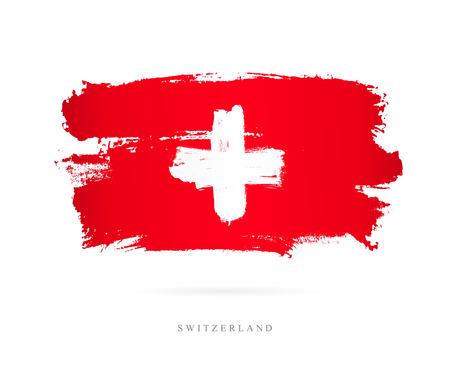 Mooie penseelstreken, Abstract concept van de nationale vlag van Zwitserland