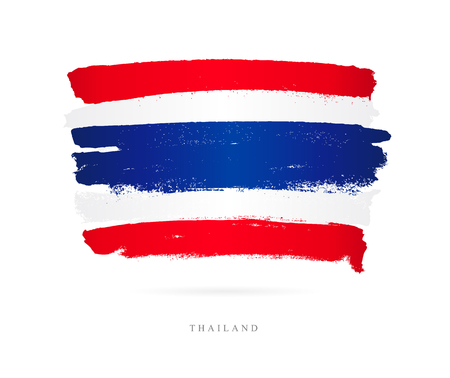 Beautiful brush strokes, Abstract concept of Flag of Thailand. Illustration