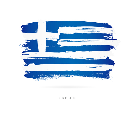 Flag of Greece. Vector illustration on white background. Beautiful brush strokes.