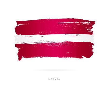 Flag of Latvia. Vector illustration on white background. Beautiful brush strokes. Abstract concept. Elements for design. Ilustrace