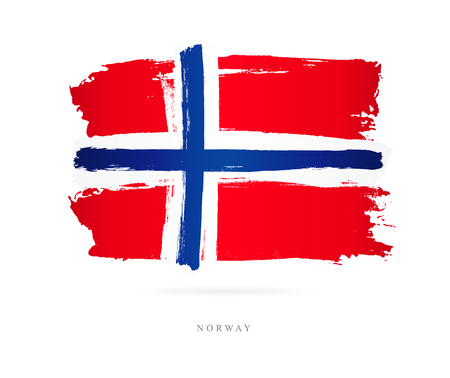 Flag of Norway. Vector illustration on white background. Beautiful brush strokes. Abstract concept. Elements for design.