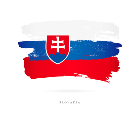 Flag of Slovakia. Vector illustration on white background. Beautiful brush strokes. Abstract concept. Elements for design. Illustration