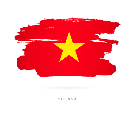 Flag of Vietnam. Vector illustration on white background. Beautiful brush strokes. Abstract concept. Elements for design.