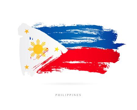 Vlag van de Filippijnen. Vector illustratie op een witte achtergrond. Mooie penseelstreken. Abstract concept. Elementen voor ontwerp.