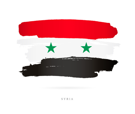 Flag of Syria. Vector illustration on white background. Beautiful brush strokes. Abstract concept. Elements for design. Ilustrace