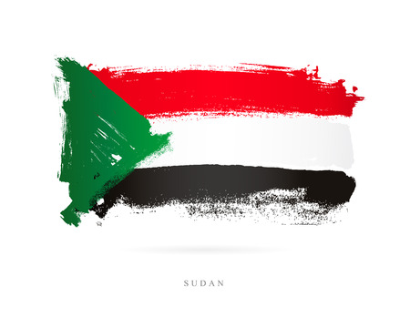 The flag of Sudan. Vector illustration on white background. Beautiful brush strokes. Abstract concept. Elements for design. Иллюстрация