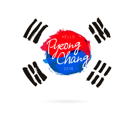 Hello Pyeonchang, 2018. Vector illustration on white background. Flag of the Republic of Korea. Calligraphy and lettering.