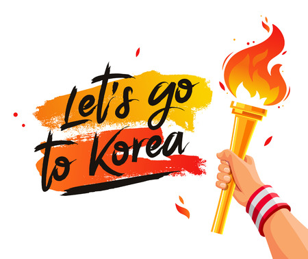 Lets go to Korea. Torch in the hand. Vector illustration on a white background with a smear of orange ink. Sports concept.