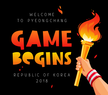Game begins. Welcome to Pyeongchang, Republic of Korea, 2018. Torch in the hand. Vector illustration on a black background. Sports concept.