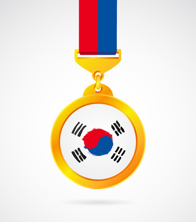 Gold medal with the Korean flag. Vector illustration. Sports concept.